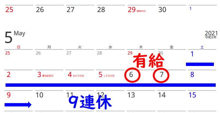 Gw カレンダー 2021